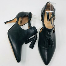 H&M Womens Size 7 Genuine Leather Pointed Toe Heels Tassel Black - $39.55