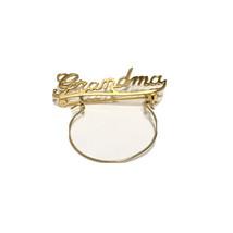 Grandma Pin Charm Holder Brooch Goldtone Metal Jewelry - $7.70
