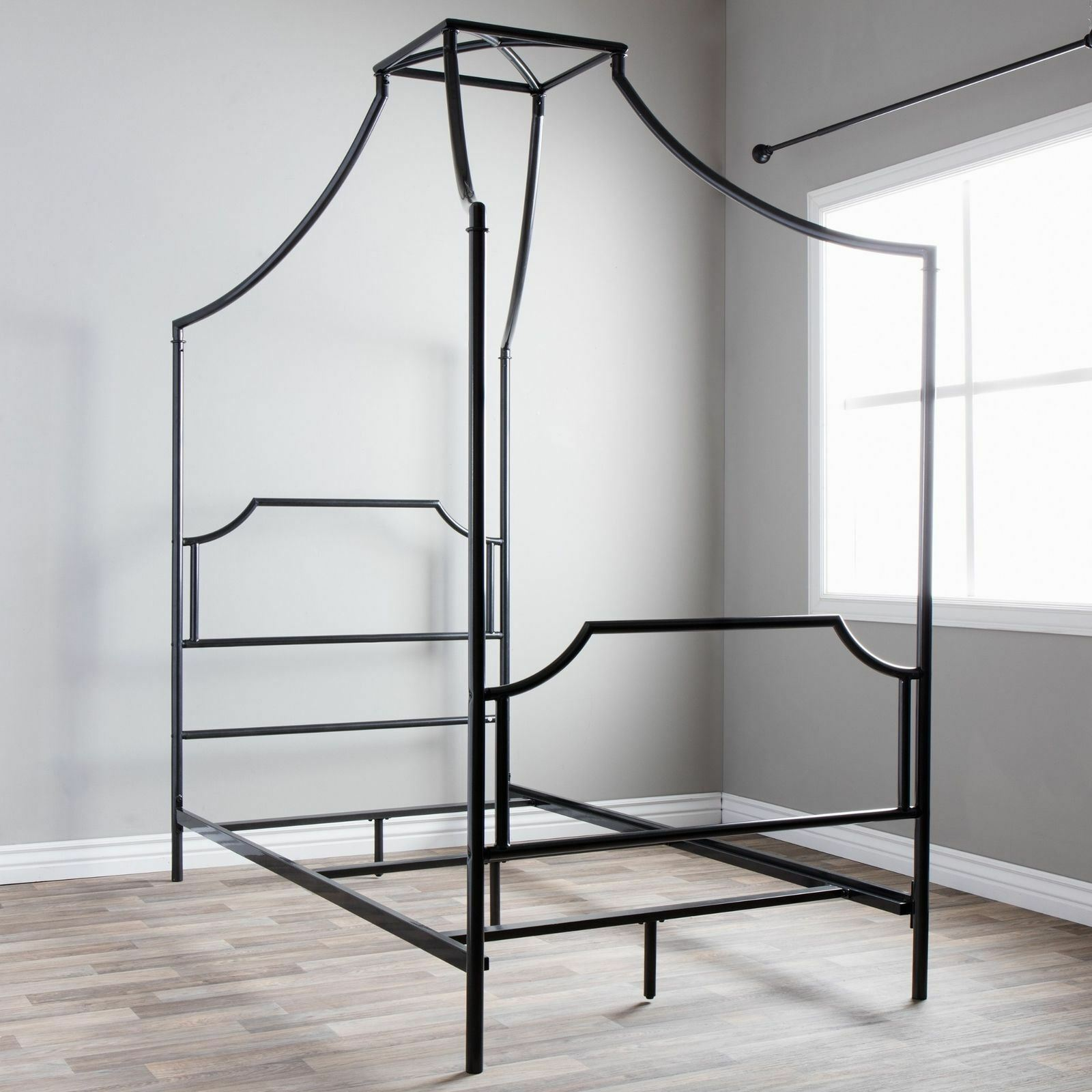 Twin Full Size Charcoal Gray Grey Metal Canopy Bed Frame