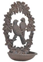 "Decorative Cast Iron Wall Mount Bird Feeder Bath Love Birds Wreath 9.75"" Long N - $23.99"