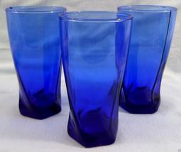 3 Piece Cobalt Blue Flat Tumblers Swirl Lower Base 14 Oz. COOL! - $19.79