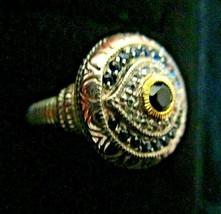 Judith Ripka 925/18K Blue & Black Sapphire White Topaz Evil Eye Ring ~ 6... - $259.95