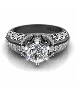 Jbr Two Tone Round Solitaire Sterling Silver Engagement Ring - $116.71