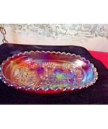 Vintage Imperial Glass RED Oval dish-scalloped edges-windmill design - $34.65