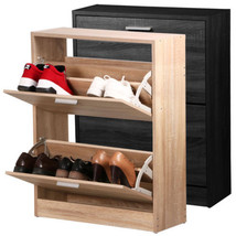 2 Tier Shoe Storage Wood Cabinet Deluxe with Storage Drawer Shoe Cupboar... - $28.23