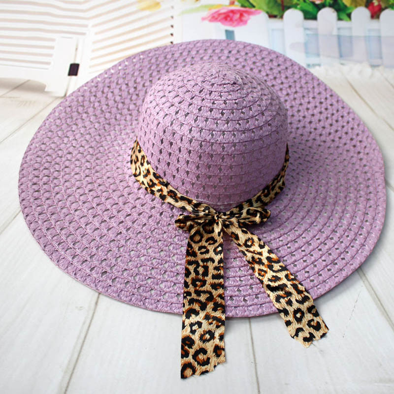 Women Straw Sun Hat With Leopard Ribbon Wide Brim Floppy Foldable Cap Summer Bea image 3