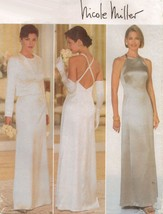 Misses Nicole Miller Prom Formal Evening Dress Gown Jacket Sew Pattern 1... - $12.99