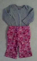 Girl's Size 3 Months Gray L/S Floral Top & Pink Heart & Floral Pants Car... - $7.00