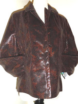 NWT Bianca Nygard Brown Snake Skin/Lizard Imitation Weekend Jacket Blaze... - $32.37