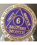 6 Month AA Medallion Reflex Purple Gold Plated Sobriety Chip Coin - £11.72 GBP
