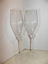 (2) Nachtmann Crystal Champagne Flutes Plain Signed Vinova (?) - $24.70
