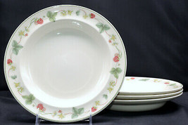 Wedgwood Queen's Ware Raspberry * 4 RIMMED SOUP BOWLS * England, VGC - $98.99