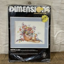 Ribbon 'n Lace Counted Cross Stitch Kit Dimensions #3670 Sealed 1989 & HOOP - $19.95