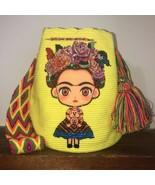 Boho Crocheted With Rhinestones Frida Kahlo Cartoon Wayuu Mochila Large ... - £91.77 GBP