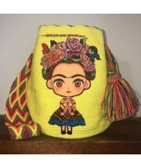 Boho Crocheted With Rhinestones Frida Kahlo Cartoon Wayuu Mochila Large Bag Yell - £92.13 GBP