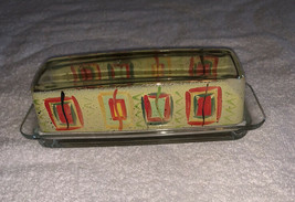 COVERED GLASS BUTTER DISH ABSTRACT ART Printed 2 Sides Orange Yellow EUC - $14.99