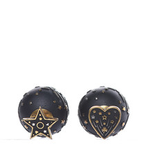 AUTHENTIC CHRISTIAN DIOR Metal Star Heart Earrings Black Gold image 3