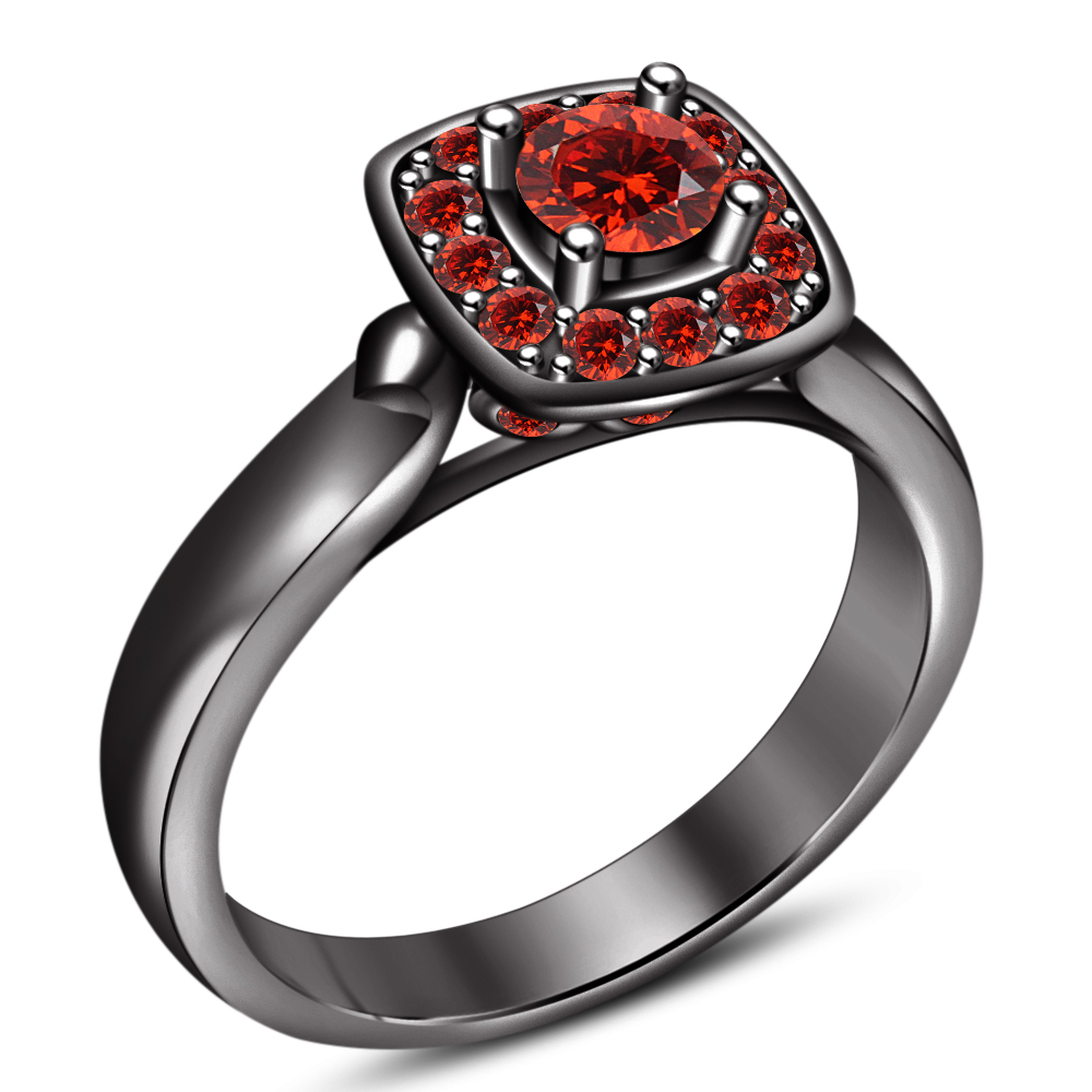 Women's Anniversary Ring Round Cut Red Garnet 14k Black Gold Plated 925 Silver