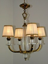 Stunning Art Deco 4 Arm Brass & Glass Chandelier With Pleated Fabric Sha... - $288.28
