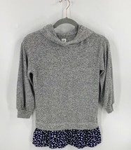 Gap Girls Sweater Size Small (6-7) Gray Blue Heart Print Hooded Faux Lay... - $14.85