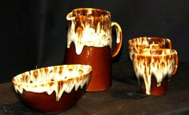 Brown Drip Glazed Banana Dish, Pitcher and Serving Bowl AA19-1671 Vintage image 1