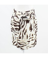White brown zebra 100% linen BANANA REPUBLIC A-line skirt 2 - $19.99