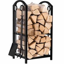 Fireplace Log Rack with 4 Tools Indoor Outdoor Fireside Firewood Holders... - $71.85