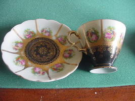 "Vintage ""SAJI"" Fine China Cup and Saucer , 5381, Japan, Black - $15.00"