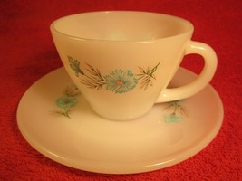 Fire King Coffee Cup & Saucer Floral Blue Flowers Premium 8 Oz [Z183] - $6.38