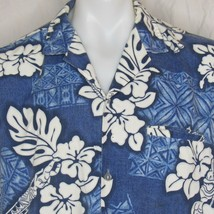 Vtg Royal Creations Hawaiian Aloha Shirt Size Large Blue White Floral - $26.99