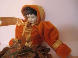 Elegant Repro Porcelain Brunette Doll Orange & Paisley Dress GORGEOUS! image 8