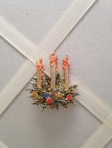 Vintage Three Candle Rhinestone Enamel Holiday Brooch - $20.00