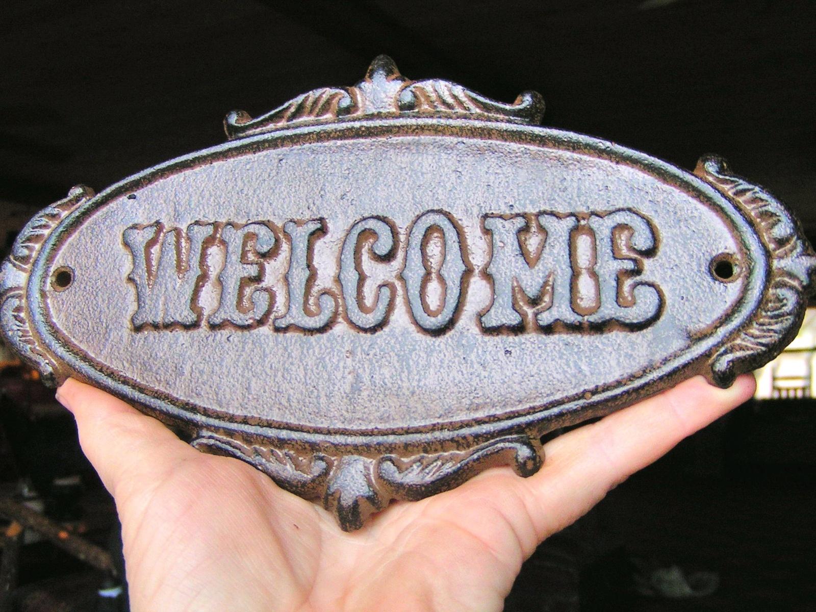Cast Iron Victorian Style WELCOME Plaque Sign Wall or Door Decor Indoor Outdoor