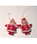 Vintage flocked Christmas ornaments Santa and Mrs Claus blow mold plastic - $6.00