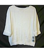 Macys KS Karen Scott Women Cotton Knit Top Pullover 3/4 Sleeve White 1X - $24.44