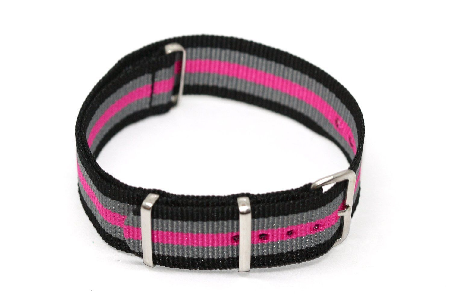 Primary image for 20MM PINK GRAY BLACK NYLON FIT G10 BALLISTIC RAF MILITARY SPORT DIVER WATCH BAND