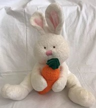 "TY Pluffies SNACKERS White Bunny Plush Baby Rabbit Carrot 2005 Seated 7"" - $12.86"