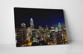 "Charlotte City Night Skyline Gallery Wrapped Canvas Print. 30""x20"" or 20... - $44.50+"
