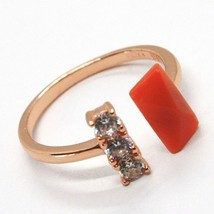 925 Silver Ring, Pink, Trilogy, Coral Red Rectangular Made in Italy image 2