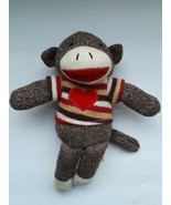 "Dan Dee Collector's Choice 9"" Brown  Sock Monkey Plush  Red Heart Sweater  - $29.69"