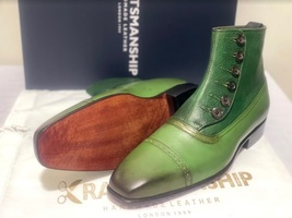 Handmade Men's Green Leather High Ankle Buttons Boot image 4