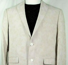 Alan Flusser Mens Sport Coat Size XL Beige 100% Cotton Subtle Floral & S... - $49.45