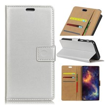 Wallet Leather Cell Phone Case for Huawei Y7 Prime / Enjoy 7 Plus - Silver - $7.85