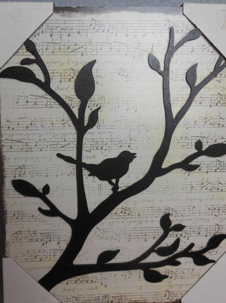 Dimensional Wall Art Birds on Branch with Music Score Background 9.5 x 12""