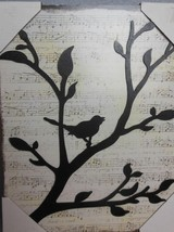 "Dimensional Wall Art Birds on Branch with Music Score Background 9.5 x 12"" - $26.00"