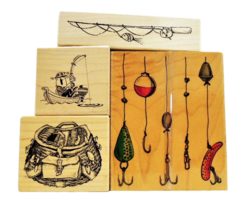 NEW! Fishing Stamps, Set of 4, Rubber Mounted on Wood image 1