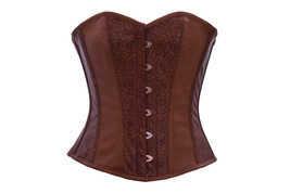 Brown Floral Print Leather Steampunk Waist Training Bustier Overbust Corset Top - $69.29+