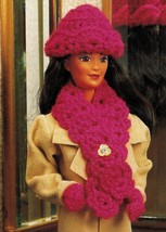 "4X Barbie 11-1/2"" Doll Winter Jog Ski Jacket Hat Boot Scarf Crochet Pattern image 6"