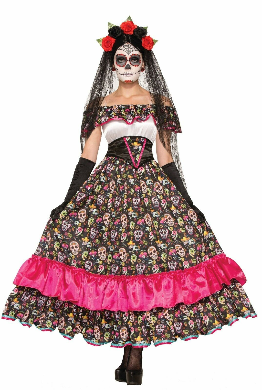 Primary image for Day of the Dead Sugar Skull Catrina Dia de Los Muertos Halloween Costume 74798