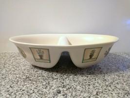 "Vintage Pfaltzgraff Portfolio Naturewood 10"" 2 Section Deep Oval Bowl - $14.25"